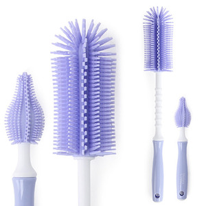 Silicone stick bottle brush & nipple brush set Light Purple